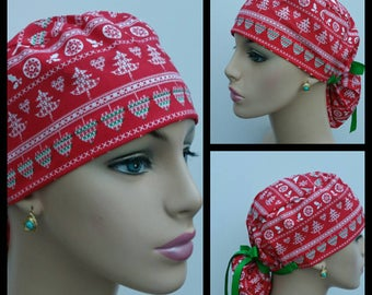Ponytail Medical Scrub Cap - OR Surgical Cap -Nordic Holiday - Snowflake Pixel Stripe - 100% cotton