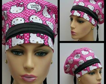 Mini - Chemo Cap - Nurses Hat - European Style - Hello Kitti over Dotted Groun - 100 % cotton