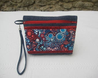 Clutch with removable handle in denim, designer cotton and metallic ribbon