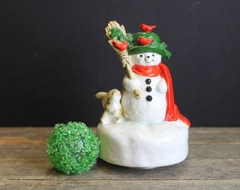 Vintage Ceramic Frosty the Snowman //  Otagiri Japan Hand Painted // Turning Music Box // Plays Frosty The Snowman