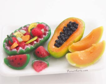 Miniature Tropical Fruits & Melons Polymer Clay Cantaloupe, Watermelon and Papaya