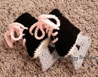 SUMMER SALE Baby Hockey Ice Skates Booties Pink Laces Black Grey Crochet Winter Outfit Newborn Boy Girl Halloween  Photo Prop Accessory