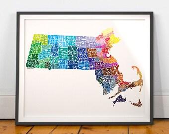 Massachusetts City Massachusetts Map Print, Massachusetts wall decor, Massachusetts typography map art