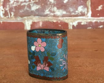 Vintage Cloisenne Toothpick Holder or Bud Vase