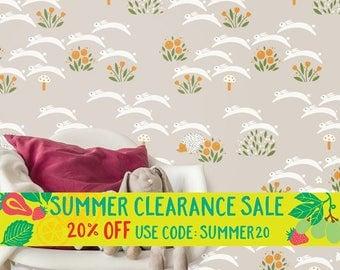Woodland Nursery Wallpaper | Bunny Rabbit and Hedgehog Wallpaper | Removable Wallpaper for Kids Home Decor W1034