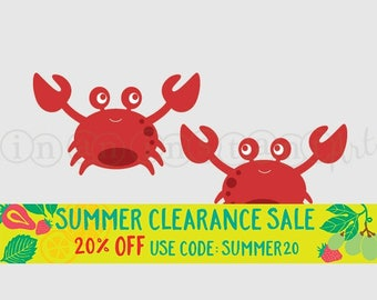 Crab Vinyl Wall Decals for an Under the Sea or Ocean Nursery, Kids, Childrens Room 521