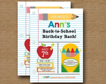 Back to School Invitation | Teacher Open House | Cute School Birthday Party | Back to School Bash | School Supplies Invite | DIY PRINTABLE