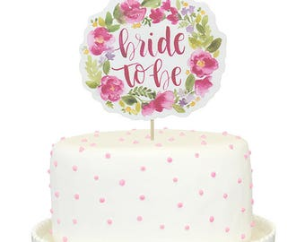 Bride To Be Floral Printed Cake Topper