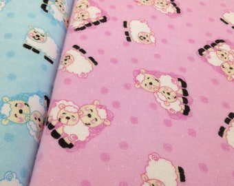 Sheep Flannel fabric, top quality flannel fabric, quilting, crafts, sewing, blue  or pink with white sheep, baby decor, sold by yard