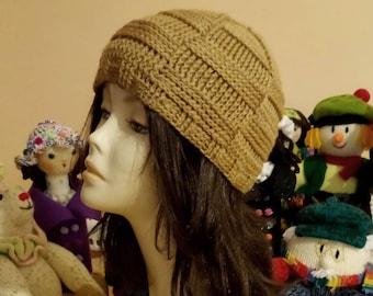 Crocheted Basketweave Beanie Hat, Basketweave Beanie Hat, Crochet Skullcap Beanie, Beanie Hat, Textured Hat. FREE UK DELIVERY