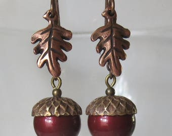 Bordeaux Acorn Earrings with Brass Caps and Antique Copper Oak Leaves