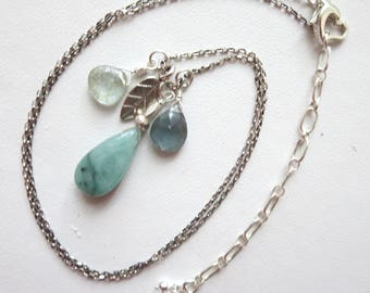 Natural Emerald and Moss Aquamarine Sterling Silver Charm Necklace