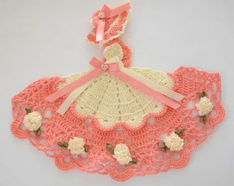 Southern Belle - Crinoline Lady Hand Crochet Doily in Coral & Cream