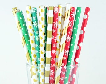 Christmas Paper Straws Mix/Gold Straws/Striped/Polka Dot/Snowflake/Heart Straws/Party Decor/Cake Pop Sticks/Mason Jar Straws/Party Supplies