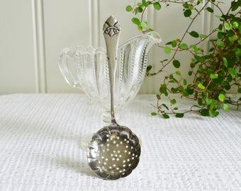 Sugar sifter, vintage Swedish tea strainer, tarnished silver plate