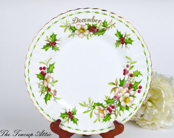 Royal Albert Flower of the Month Series December Dessert Plate, English Bone China with Christmas Rose, ca 1970