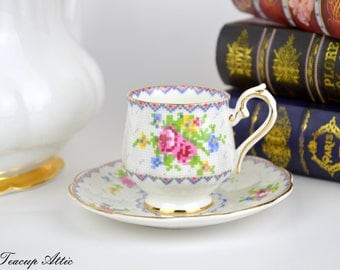 Royal Albert Petit Point Child's Teacup and Saucer Set, Children's Teaparty, Miniature Teacup and Saucer, Replacement China, ca. 1940