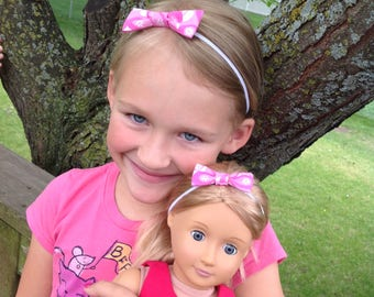 Dolly and me headbands, bows, elastic head bands, me and my doll headbands, pink