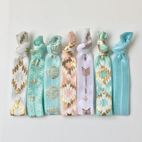 KIDS hair tie bracelets, party favour, beach bracelets, mermaid jewelry, boho style, friendship bracelets, girl gift, bohemian jewelry