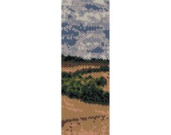 Landscape 2 Peyote Bead Pattern, Bracelet Pattern, Bookmar1k Pattern, Seed Beading Pattern Miyuki Delica Size 11 Beads, PDF Instant Download