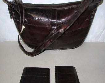 Genuine Eel Skin Leather Purse with 2 matching wallets