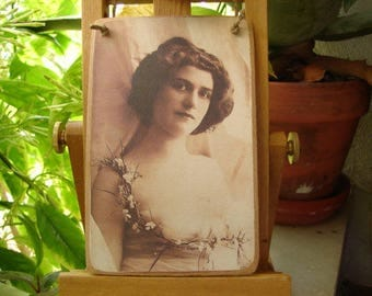 Edwardian girl, beautiful antique style photo image on shabby chic wooden tag with string hanger