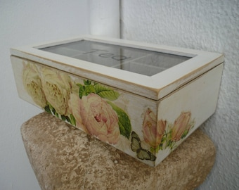 shabby chic roses,wooden tea box,vintage box with 6 compartments,decoupaged roses storage.