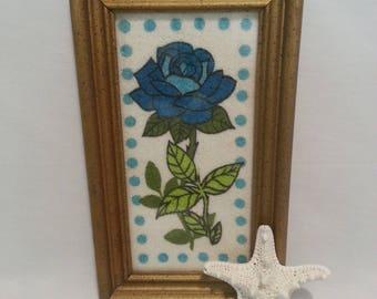 Delightful 1970's Framed Blue Rose on Terrycloth