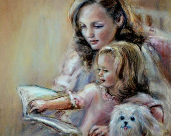 """ORIGINAL pastel painting Reading, Nursery girls room art """"Bedtime Story"""" Mother and daughter, family Pastel Painting Laurie Shanholtzer"""