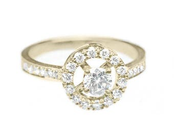 10% OFF Halo Engagement Ring, 0.55 CT Pave Diamond Ring, Halo Ring, Unique Engagement Ring, Art Deco Ring
