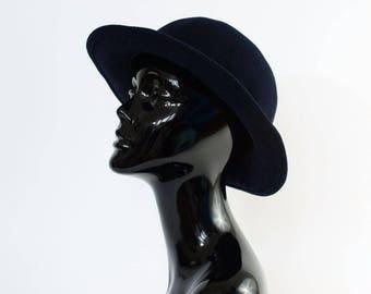 "Vintage Women's Navy Felted Wool Wide Brim Hat Festival XSmall 52cm 20.5"""