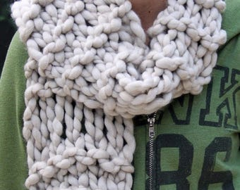 XMAS IN JULY up to 50%off Hand Knit Scarf in Ivory, of Soft Handspun Super Bulky Yarn