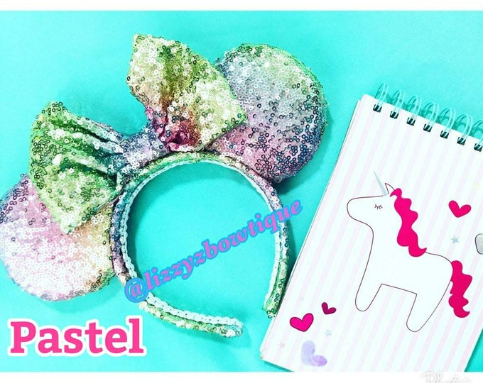 Unicorn Pastel Rainbow Sequin Minnie ears