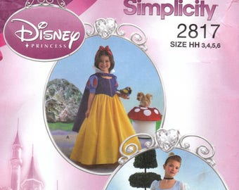 Disney Princess Dress Pattern Simplicity 2817 Sizes 3 4 5 6 Uncut