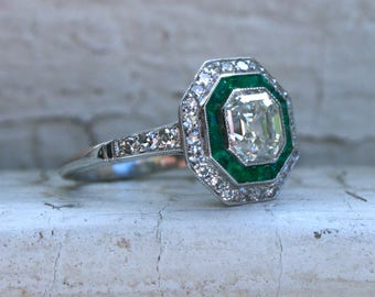 RESERVED - Vintage Halo Platinum Asscher Cut Diamond and Emerald Ring Engagement Ring - 2.47ct.