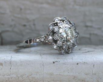 RESERVED - Gorgeous Antique Platinum Diamond Ring Engagement Ring - 1.52ct.