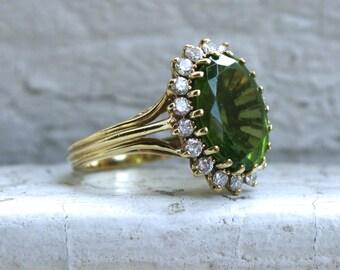 Vintage Peridot and Diamond Halo Ring 18K Yellow Gold Engagement Ring.