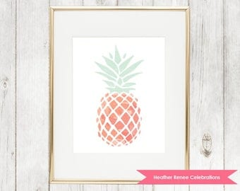 Pineapple Print | Printable Pink and Mint Nursery Decor | Wall Art Instant Download