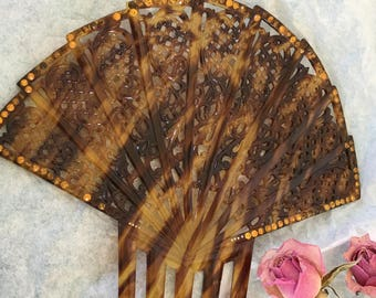 Vintage Decorative Japanese HAIR COMB. Brown and Amber Marbled Cellulose Hair Comb. Open Work 0f Swirls and Curlicues. Rhinestone Edge.