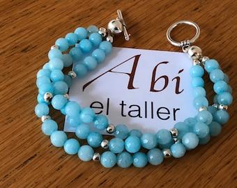 Turquoise bracelet/ bracelet with 3 interlace threads/fashion bracelet/perfect gift