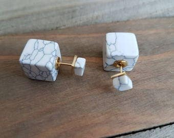 White Howilite double square stud earrings.