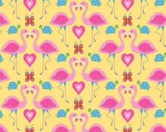 Snuggle Flannel Fabric - Flamingo in Love - 33 inches