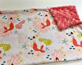 Pink Coral Mermaids Baby Girl Minky Blanket