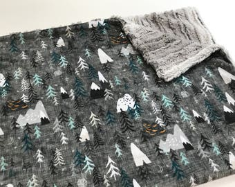 Charcoal Grey Mountain Baby Blanket, Forest Peaks Baby Bedding, Baby Boy MINKY Blanket, Ready to Ship, Baby Shower Gift, Adventure Awaits