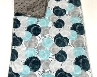 Baseball Blue and Grey Baby Boy Blanket, Baseball Sports Baby Bedding, Baby Boy MINKY Blanket, Ready to Ship Baby Blanket, Baby Shower