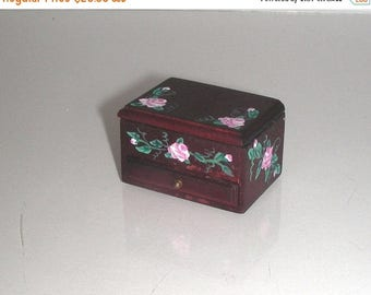 SPECIAL SALE Heidi Ott JEWELRY Box Hand-painted Pink Roses 1:12 Dollhouse Miniature Victorian