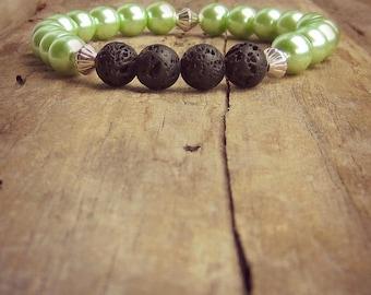 Lava Stone Diffuser Bracelet • Aromatherapy • Lava Stone Bracelet • Essential Oil Bracelet • Healing Bracelet • South Sea Pearl Bracelet