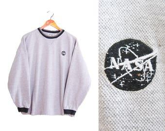 vintage sweatshirt / NASA sweatshirt / oversize sweatshirt / 1990s grey NASA ringer sweatshirt Small
