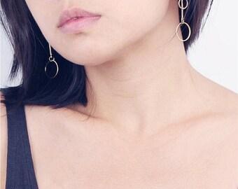 ON SALE Asymmetrical gold hoop dangle bar earrings - geo jewelry