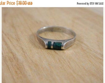 ETSYCIJ Petite Malachite and Sterling Silver Ring / Vintage Sterling Silver Stacking Mod Southwestern Ring Size 6.75